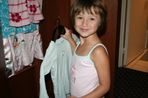 Hayley making herself at home in the hotel room.  Every article of clothing was hung in the closet...pj's included