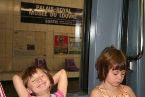 "A happy moment on the subway...I think Hayley know that we were headed ""home"""