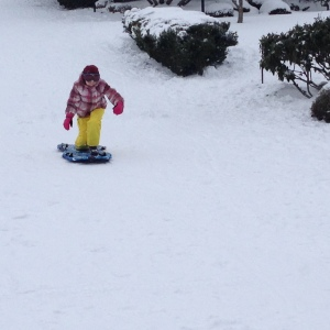 Hayley snowboarding on a sled