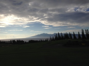 View of Oahu (in the way background) and Molokai, from Kapalua's Plantation Golf Course at 5 p.m.