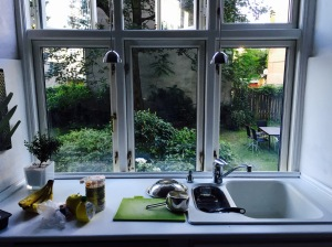 Danish kitchen overlooking shared garden