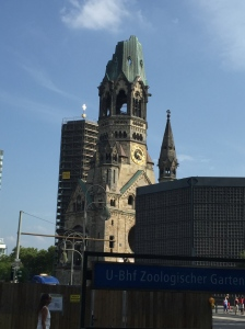 The church ravaged -- but not repaired -- from a bombing during WWII and another built beside it